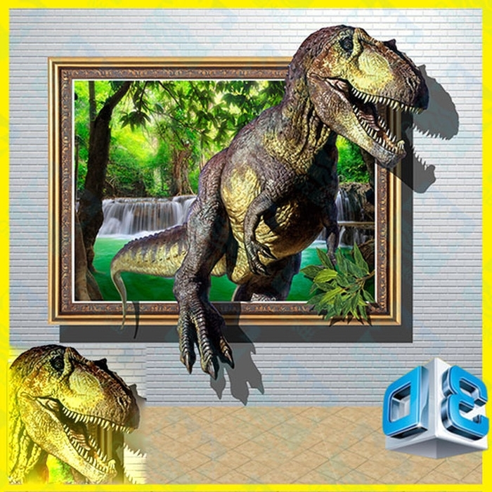 14. 3D Dinosaur 2 Wall Stickers Park Home Decoration Diy Shopping Pertaining To Best And Newest 3D Dinosaur Wall Art Decor (Gallery 13 of 15)