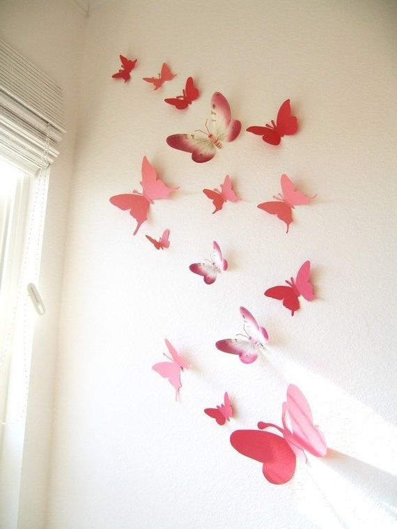15 3D Paper Butterflies, 3D Butterfly Wall Art, Wall Decor Throughout Most Current Pink Butterfly Wall Art (View 2 of 15)