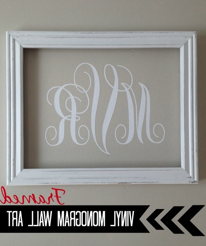 15. Vinyl Monogram Wall Art Silhouette Tutorial Silhouette Studio Throughout Most Popular Framed Monogram Wall Art (Gallery 12 of 15)