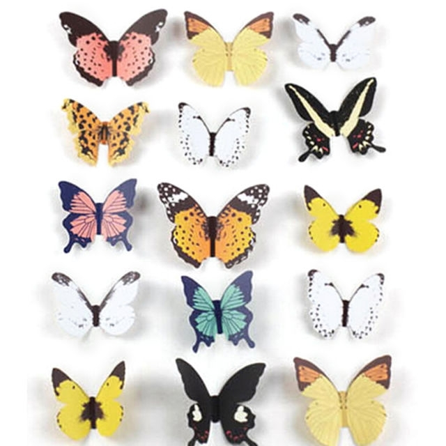 15Pcs Diy 3D Butterfly Wall Stickers Art Decal Paper Butterflies For 2018 Diy 3D Butterfly Wall Art (Gallery 11 of 15)