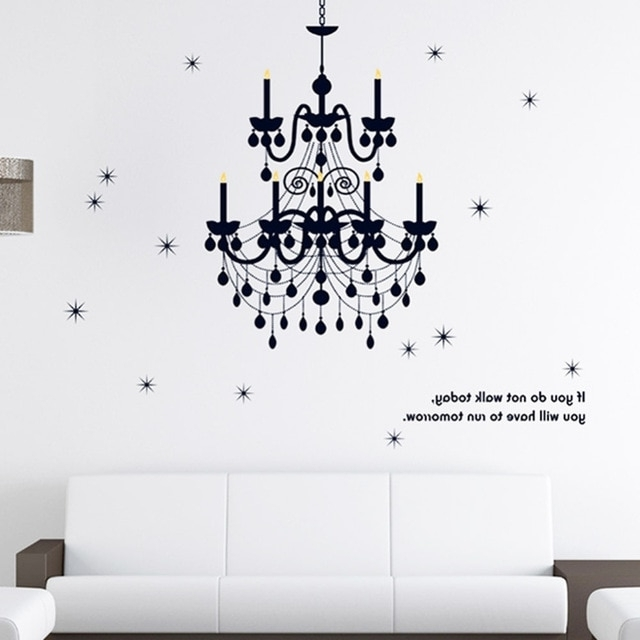160*130Cm Grand Chandelier Lighting Fancy Wall Decal Vinyl Art Words With Fashionable Classy Wall Art (Gallery 7 of 15)