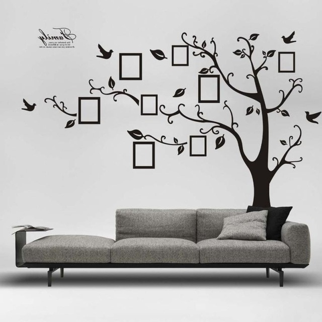 180*250Cm 3D Diy Photo Tree Vinyl Wall Art Decorative Stickers Glass Regarding Best And Newest Vinyl Wall Art Tree (View 1 of 15)