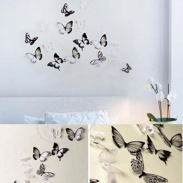 18Pc Diy 3D Butterfly Wall Stickers Art Decal Pvc Butterflies Home Inside Trendy Diy 3D Butterfly Wall Art (Gallery 15 of 15)