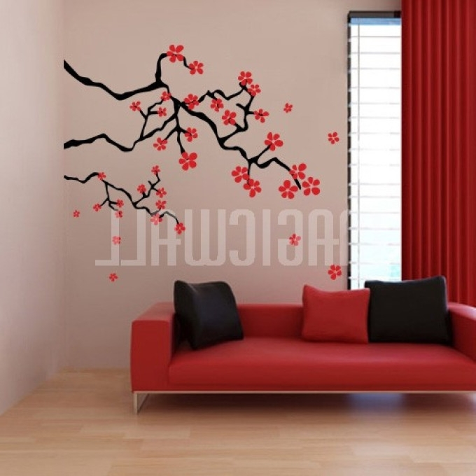 19 Red Cherry Wall Art, Cherry Blossom Wall Decal Tree Wall Decal In Widely Used Red Cherry Blossom Wall Art (View 1 of 15)
