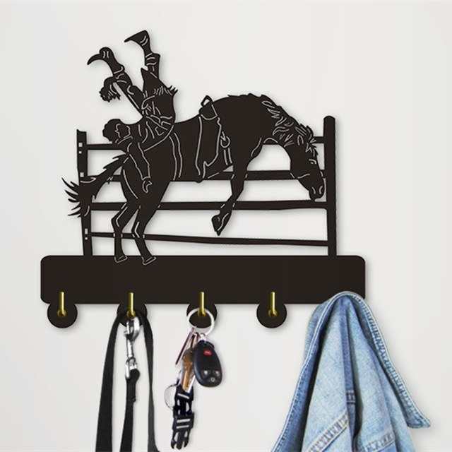 1Piece Modern Wall Art Decoration Coat Hooks Hanger Bucking Cowboy With Current Wall Art Coat Hooks (View 8 of 15)