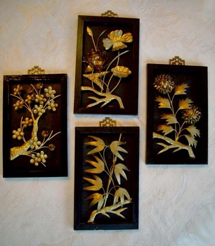 2. Awesome Chinese Carved Glass Gold Painting Four Seasons Flowers Throughout Preferred Asian Wall Art Panels (Gallery 9 of 15)