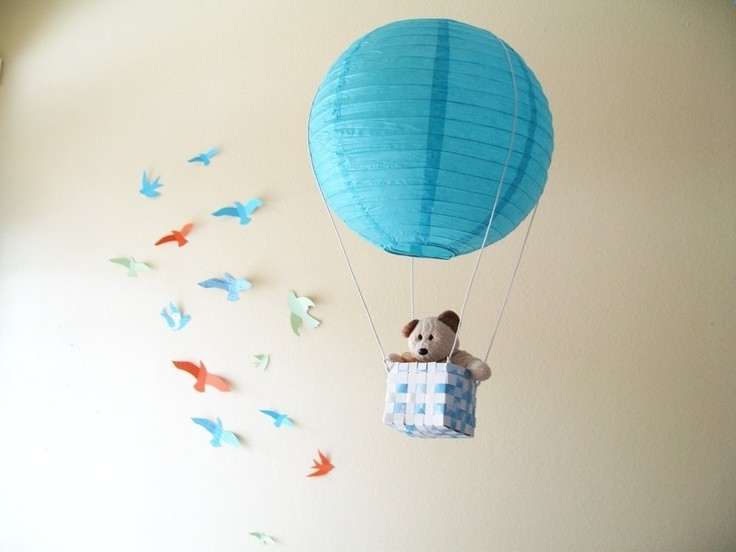 2 Hot Air Balloon Mobile, Hot Air Balloon, Blue, Boys Room Decor Intended For Famous Air Balloon 3D Wall Art (View 1 of 15)