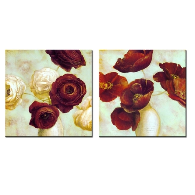 2 Panel Red Flower Painting Modern Abstract Flower Canvas Wall Art in Preferred Abstract Flower Wall Art