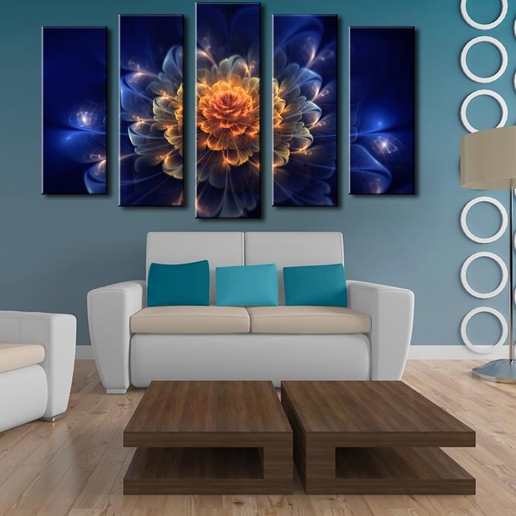 2017 2018 Home Decoration Wall Art 5 Panel Abstract Flowers Canvas With Abstract Flower Wall Art (View 11 of 15)