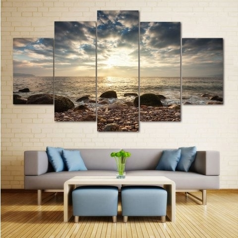 2017 2018 Sea Stone Beach Split Canvas Prints Wall Art Paintings Colormix Within Split Wall Art (View 1 of 15)
