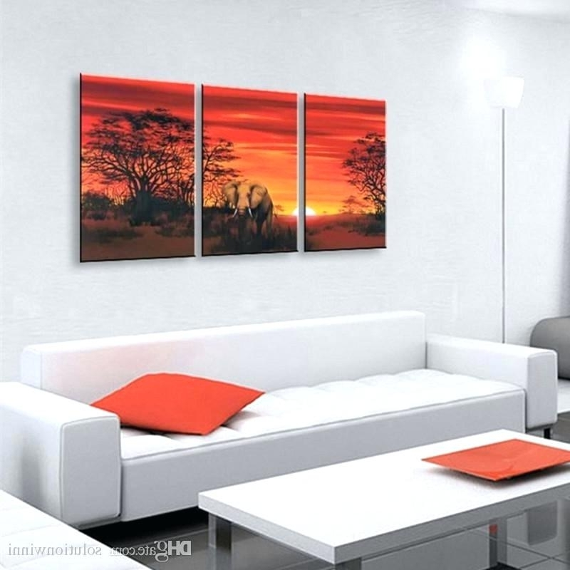 2017 3 Panel Wall Art 3 Panel Wall Art Pictures Elephant Canvas Paintings Intended For Cheap Wall Art Canvas Sets (View 1 of 15)