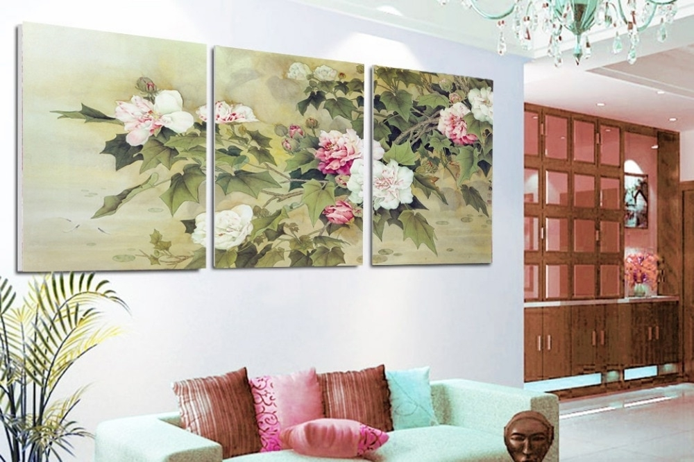2017 3 Piece Floral Canvas Wall Art Inside Free Shipping Floral Wall Art 3 Piece Canvas Wall Art Flower Wall (View 4 of 15)