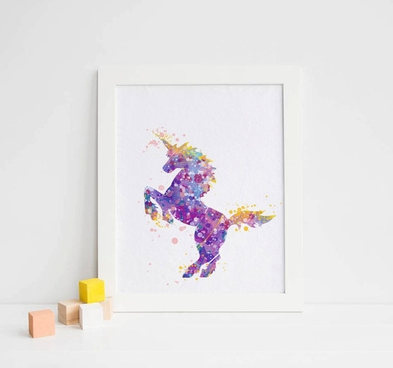2017 3D Unicorn Wall Art In Clever Design Ideas Unicorn Wall Art Home Girls Nursery Or Bedroom (View 9 of 15)