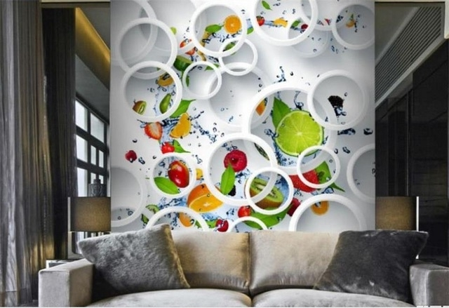 2017 Abstract Art Wall Murals For Custom Modern Minimalist Photo Wallpaper Mural White Ring Cycle (View 1 of 15)