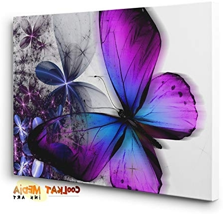 2017 Abstract Butterfly Purple Blue Floral Canvas Print Unique Wall Art For Abstract Butterfly Wall Art (View 13 of 15)