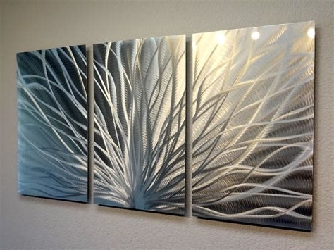 2017 Abstract Metal Wall Art Panels Throughout 3 Trees 4 Panel Abstract Metal Wall Art Contemporary, Abstract Metal (View 8 of 15)