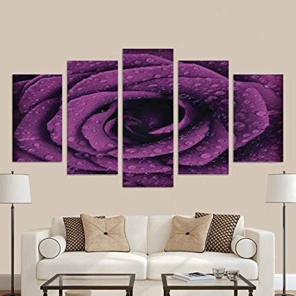 2017 Amazon: Interestprint Purple Dark Rose Country House Image Throughout Dark Purple Abstract Wall Art (View 1 of 15)