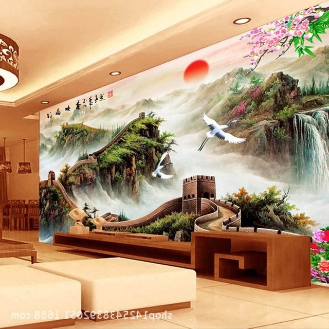 2017 Beibehang 3D Chinese Landscape Painting Of The Great Wall Tv Throughout Great Wall Of China 3D Wall Art (View 2 of 15)