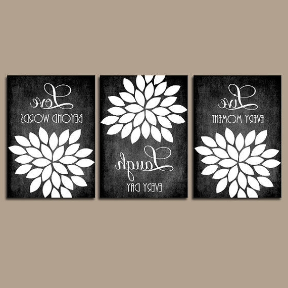 2017 Black And White Damask Wall Art Within Wall Art Ideas Design : Adorable Combination Black And White Damask (View 11 of 15)