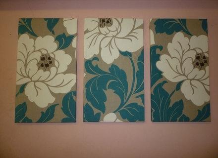 2017 Blue And Cream Wall Art with regard to 22 Textile Wall Art, Big Fabric Wall Art Teal / Petrol Blue Cream