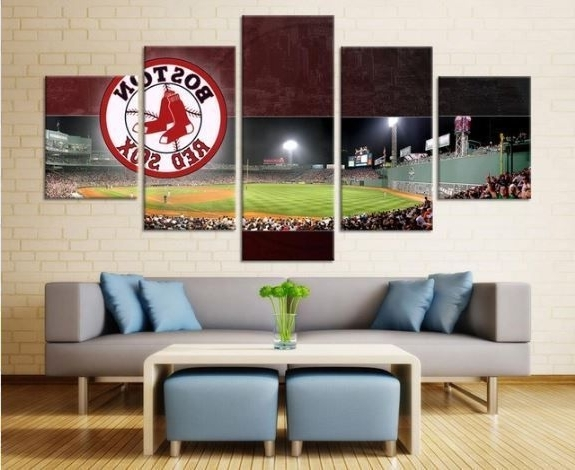 2017 Boston Red Sox Baseball Sport Painting Printed Canvas Wall Art Home With Red Sox Wall Art (View 13 of 15)