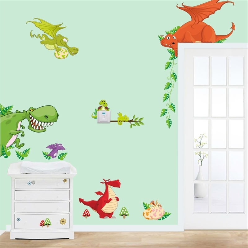2017 Dinosaur Wall Art Home Decorations Animal Stickers Kids Room Cartoon Within Dinosaur Wall Art For Kids (View 1 of 15)