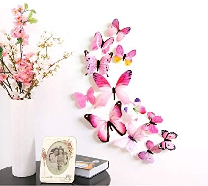 2017 Diy 3D Butterfly Wall Art Throughout Amazon: Amaonm 24 Pcs 3D Pvc Colorful Butterfly Wall Decals (View 3 of 15)