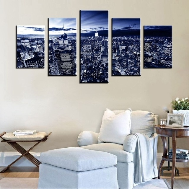 2017 Empire State Building Blue Light City Night View Abstract Wall Art Inside Light Abstract Wall Art (View 1 of 15)