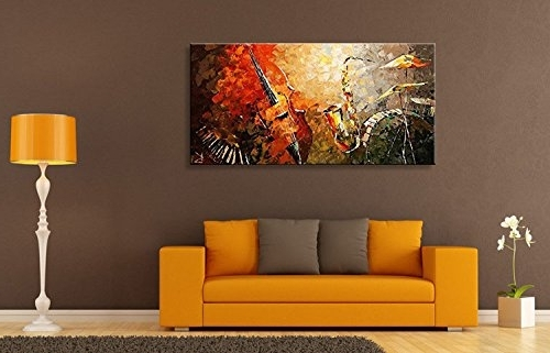 2017 Everfun Art Hand Painted Oil Painting On Canvas Modern Music In Musical Instrument Wall Art (View 2 of 15)