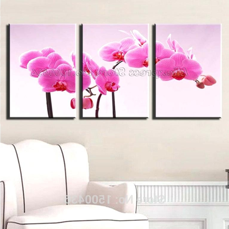 2017 Flower Wall Art Canvas White Poppies Floral Printed Canvas Flower Intended For Pink Flower Wall Art (Gallery 6 of 15)
