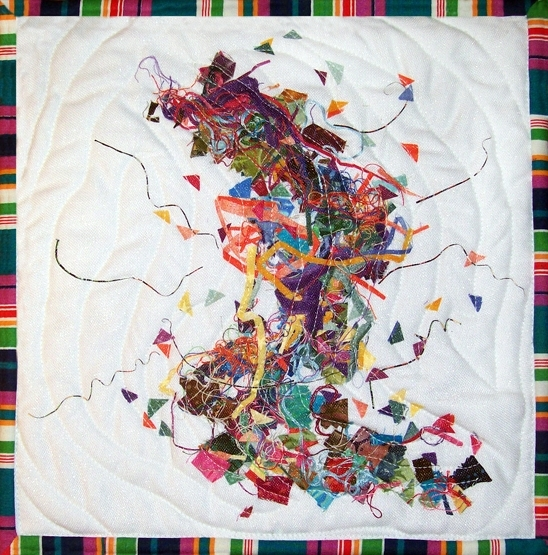"""2017 For Quilts Sake – """"etude In Fabric"""" Art Quilt Wall Hanging Regarding Abstract Fabric Wall Art (View 14 of 15)"""