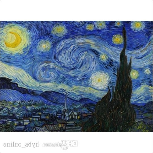 2017 Framed Pure Handpainted Vincent Van Gogh – Starry Night Abstract Art In Vincent Van Gogh Multi Piece Wall Art (View 1 of 15)