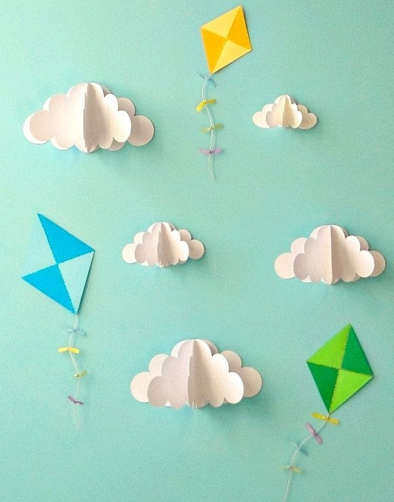 2017 Kite Decals, Paper Decals, Wall Decals, Wall Art, 3D Paper Wall Art Inside 3D Clouds Out Of Paper Wall Art (View 10 of 15)