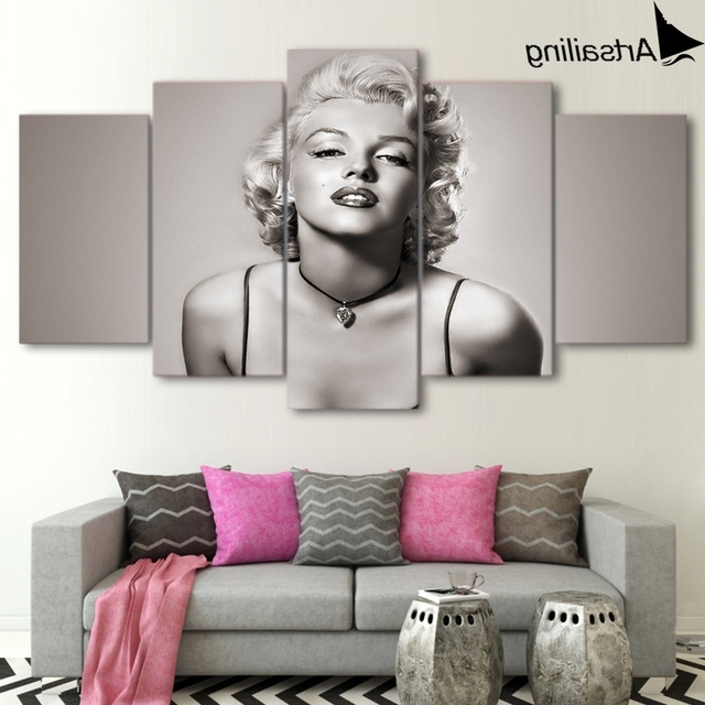 2017 Marilyn Monroe Wall Art Pertaining To Artsailing Canvas Paintings 5 Pieces Marilyn Monroe Wall Art Canvas (View 3 of 15)