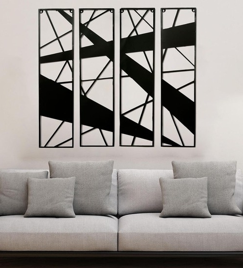 2017 Metal Abstract Wall Art In Buy Black Metal Abstract Wall Hangingscraftter – Set Of 4 Online (View 1 of 15)