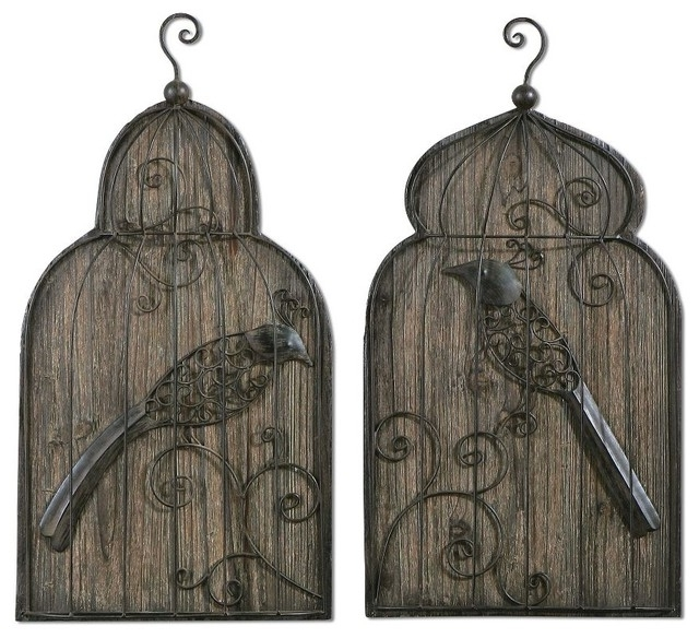 2017 Metal Birdcage Wall Art Inside Set 2 Forged Metal Birdcage Wall Art Rustic Bronze Wood Background (View 1 of 15)