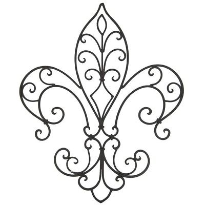 2017 Metal Fleur De Lis Wall Art Pertaining To Vintage Black Swirled Metal Fleur De Lis Wall Sculpture Contemporary (View 11 of 15)