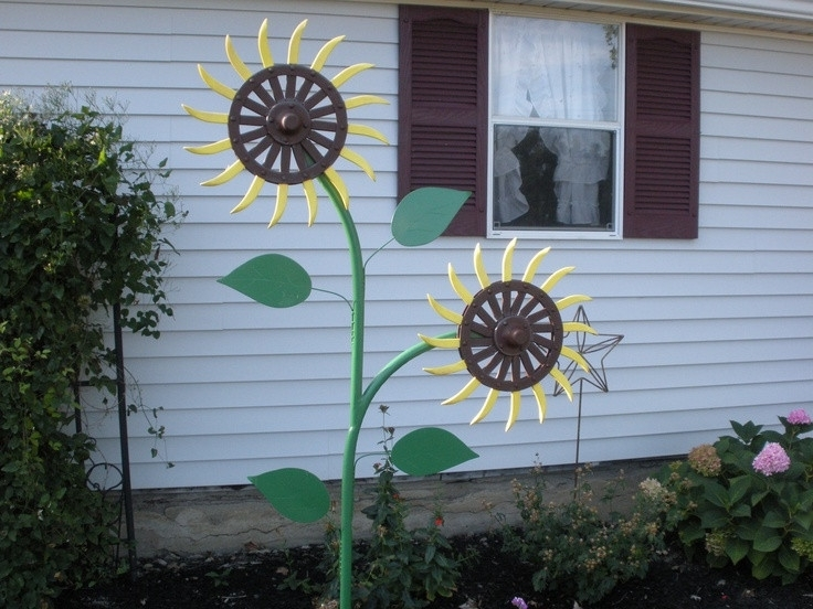 2017 Metal Sunflower Yard Art Pertaining To 9 Best Yard Art My Husband Made Images On Pinterest Garden Ripping (View 1 of 15)