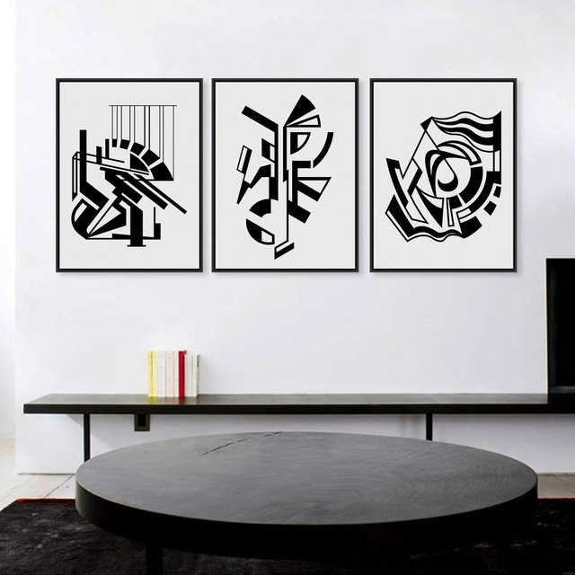 2017 Modern Minimalist Nordic Black White Symbol Hd Large Art Prints Pertaining To Black And White Abstract Wall Art (View 2 of 15)