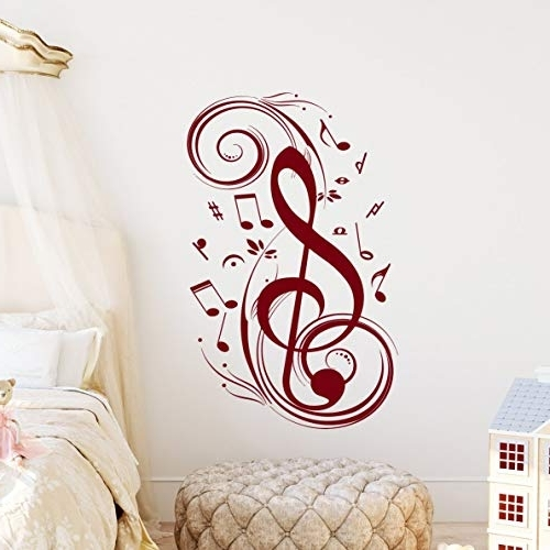 2017 Music Note Wall Art Pertaining To Amazon: Music Note Wall Decal Floral Patterns Decals Treble Clef (Gallery 5 of 15)