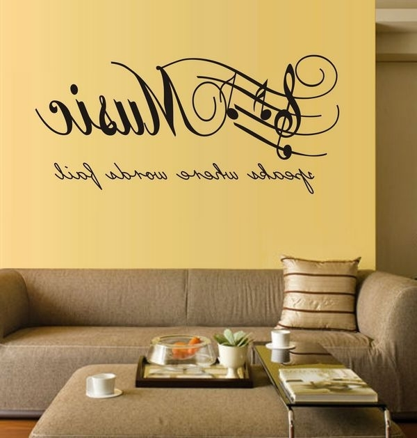 2017 Music Note Wall Art With Large Size Music Sticker Music Note Home Decor Diy Wall Paper Wall (Gallery 3 of 15)