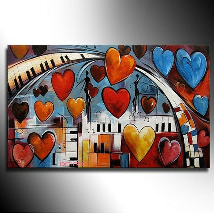 2017 Music Theme Wall Art Regarding Hand Painted For Living Room Oil Painting On Canvas Style Of (View 1 of 15)