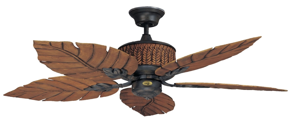 2017 Outdoor Ceiling Fans With Leaf Blades Intended For Ceiling Fans Leaf Blades Tropical Fan Palm Attractive Throughout  (View 2 of 15)