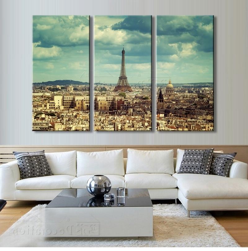2017 Paris Decor 3 Multi Panel Canvas Wall Art Painting Posters And In Multi Panel Canvas Wall Art (Gallery 2 of 15)