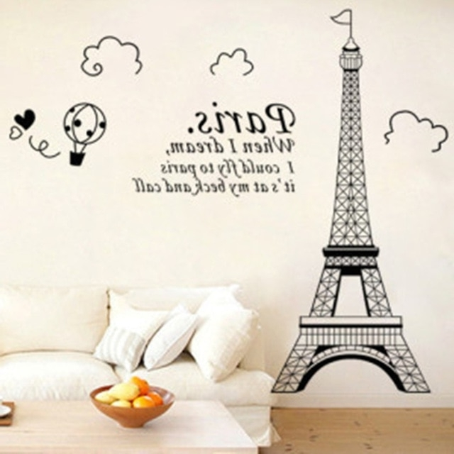 2017 Paris Vinyl Wall Art Regarding Free Shipping Personalized Bedroom Wall Decals, Wall Stickers (Gallery 1 of 15)