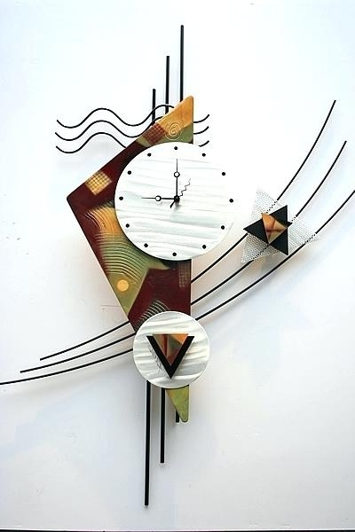 2017 Pink Abstract Wall Clock Metal Art With – Mbtwty (View 9 of 15)