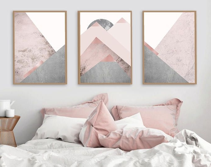 2017 Pink And Grey Wall Art In Printable Art, Downloadable Prints, Set Of 3 Prints, Wall Decor (View 3 of 15)