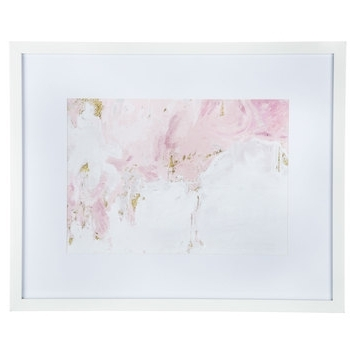 2017 Pink, White & Gold Abstract Framed Wall Decor (View 4 of 15)