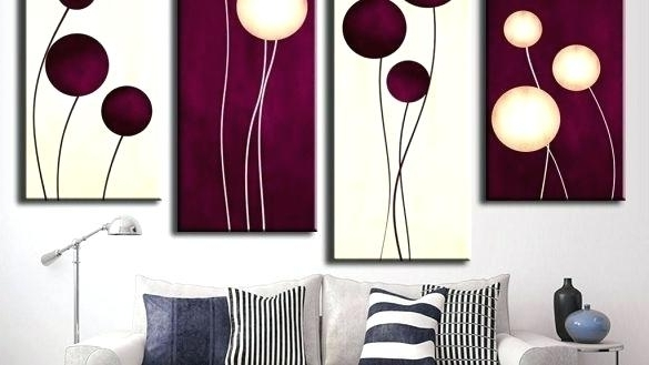 2017 Plum Wall Art Within Plum Wall Decor 5 Print Plum Blossom Painting On Canvas Modern Home (View 15 of 15)