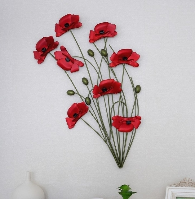 2017 Red Flower Metal Wall Art Within Modern Home Decoration Metal Wall Art Hand Made Red Poppy Flower (View 2 of 15)